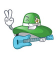 with guitar beach hat isolated in with cartoons vector image vector image