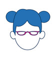 woman avatar faceless with glasses and blue hair vector image vector image