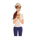 Woman coffee cup portrait vector image vector image