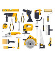 work tools set construction carpentry woodwork vector image