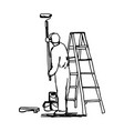 workman painting the wall with a roller vector image