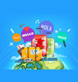 world adventure concept with color bubbles hello vector image vector image