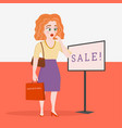 young female shopper shocked sale vector image