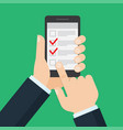 list on smartphone screen vector image