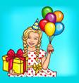 pop art smiling little girl holding a gift vector image
