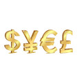 set of golden currency sign vector image