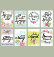 springtime floral greeting card set with vector image