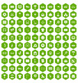 100 playground icons hexagon green vector image vector image