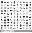 100 vogue icons set simple style vector image vector image