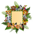 animals cartoon with blank sign bamboo vector image vector image