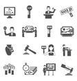 Auction Black White Icons Set vector image vector image