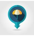 Beach Parasol pin map flat icon Summer Vacation vector image