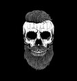 bearded skull on dark background design element vector image vector image