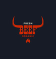 beef bull logo steak grilled and bbq meats logo vector image