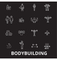 bodybuilding editable line icons set on vector image