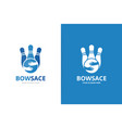 bowling and hands logo combination game vector image vector image