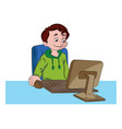 Boy using a desktop computer vector image