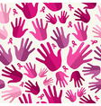 Breast cancer awareness ribbon women hands vector image vector image