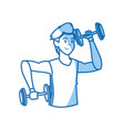 cartoon sport man weight lifting design graphic vector image vector image