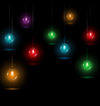 Christmas lights on black vector image vector image
