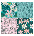 collage contemporary floral and polka dot shapes vector image