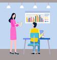 colleague brainstorming team business idea vector image vector image