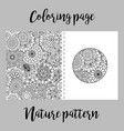 coloring page with nature pattern vector image