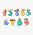 cute number cartoon characters with sweet cakes vector image