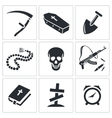 Death and burial icon collection vector image