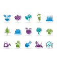 different plants and gardening icons vector image vector image