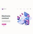 electronic contract digital technology isometric vector image