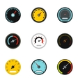 Engine speedometer icons set flat style vector image vector image