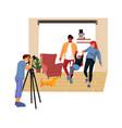 family photo session cartoon photographer taking vector image