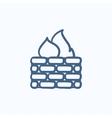 Firewall sketch icon vector image vector image