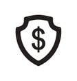 Flat icon in black and white dollar shield