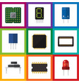 flat icon technology set of mainframe receptacle vector image vector image