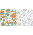 Floral seamless pattern with fox hen and chicken vector image vector image