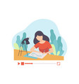 girl drawing picture young woman blogger creating vector image vector image