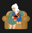 grandmother recursion sits on chair grandma vector image vector image