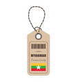 hang tag made in myanmar with flag icon isolated vector image vector image
