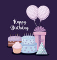 happy birthday card with sweet cake and set icons vector image vector image