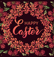 happy easter lettering on a floral vector image vector image