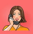 happy girl or young woman talking on the phone vector image