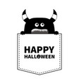 happy halloween black monster silhouette in the vector image vector image