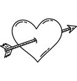 heart arrow icon doddle hand drawn or black vector image