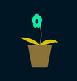 icon in flat design flower in a pot vector image vector image