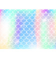 kawaii mermaid background with princess rainbow vector image vector image