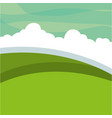 landscape green meadow clouds vector image