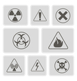 monochrome icons with warning signs vector image vector image