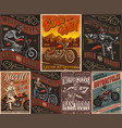 motorcycle vintage posters vector image vector image
